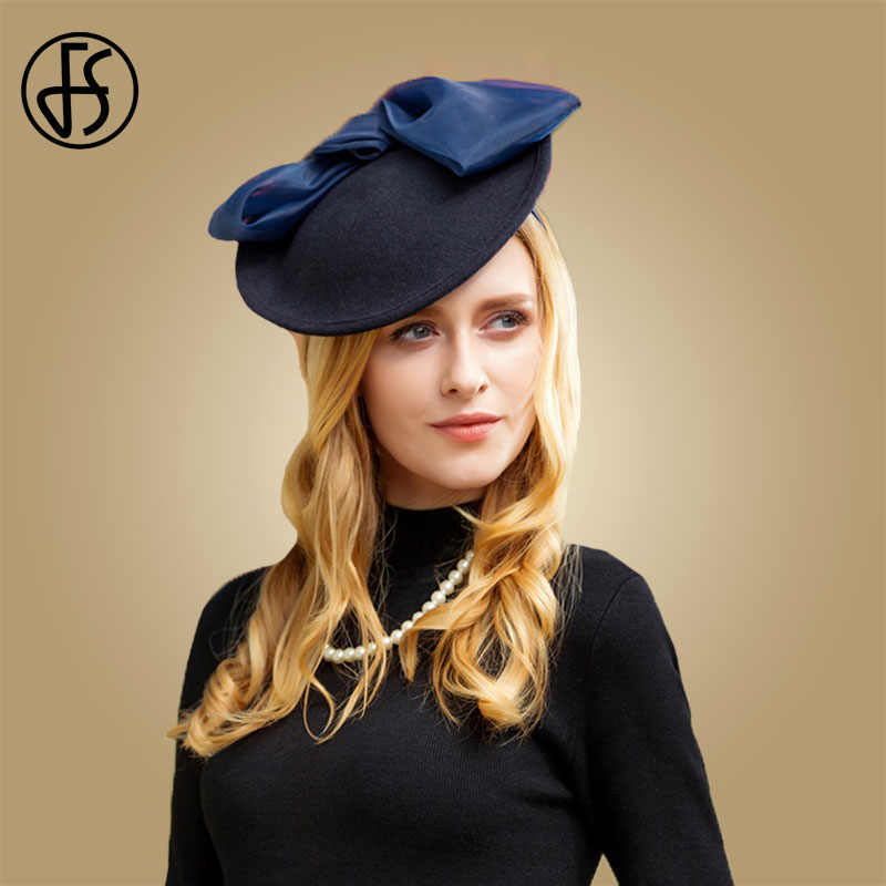 FS Fascinators Wool Hat For Women Pillbox Navy Blue Winter Vintage Felt Wedding Bow Church Fedoras Ladies Formal Hats