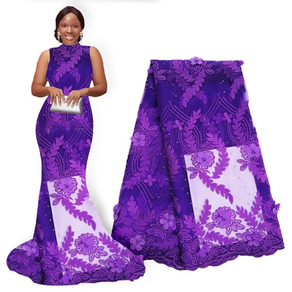 Tela de encaje de flores africanas tela de encaje de Nigeria bordado con cuentas Flor de encaje africano tela de flores 3D 5 yardas para fiesta de boda-in encaje from Hogar y Mascotas    3