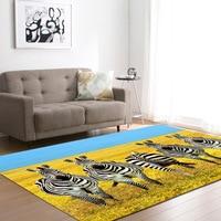 DeMissir 3D Animal Zebra Print Large Carpet For Living Room Children Pay Pad Rugs Tapete Para