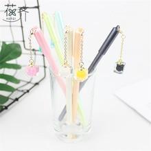 Купить онлайн Huaqi 4 шт. корейский ручка канцелярских принадлежностей красочные квадраты прозрачный кулон гель Penseel для офиса и школы письменные принадлежности подарок