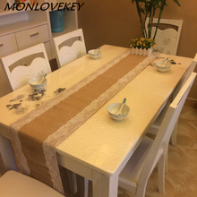 1pc 30x275cm Burlap Lace Hessian Table Runner Jute Country Outdoor Wedding Party Decor Placemats Patio furniture tablerunners