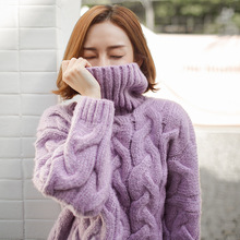 autumn winter Thick Sweater women Knuckle Short Style Twist High Collar warm pullover female pull femme women coat