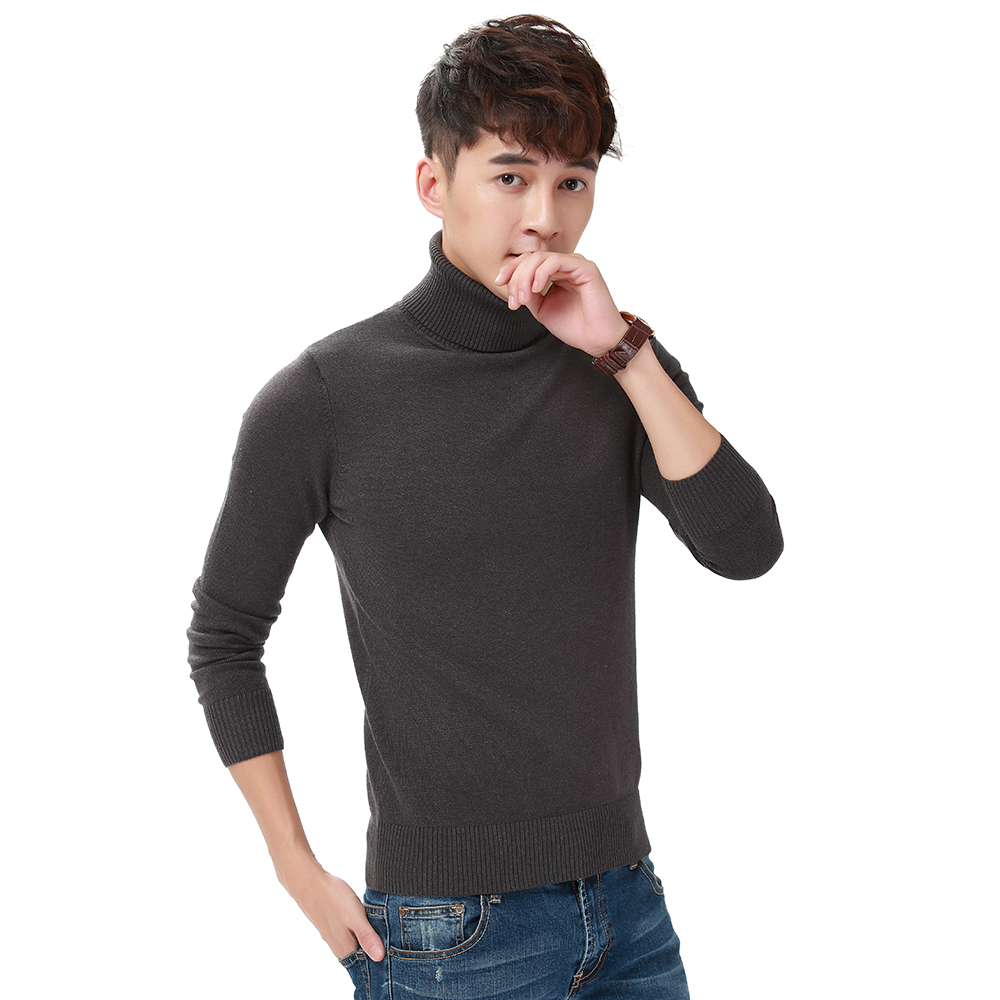 Harajuku Men Solid Color Turtleneck Loose Brief Thermal Thickening Retro Sweater Male Handsome Knitted Jumper And Pullover (1)