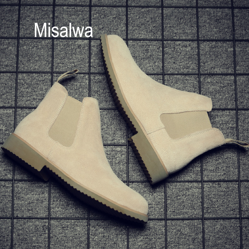Misalwa Winter Boots Ankle Suede Casual Pointed-Toe Khaki Sand Low-Cow 37-44 All-Match