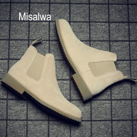 Misalwa Chelsea Men Boots Ankle Low Cow Suede Simple Pointed Toe Men Boots Casual All Match Winter Boots Sand Khaki 37 44