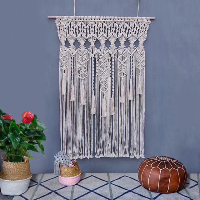 100cm x 130cm macrame hand knitted tapestry living room wall hanging 100cm x 130cm macrame hand knitted tapestry living room wall hanging decoration outdoor wedding decoration junglespirit Image collections