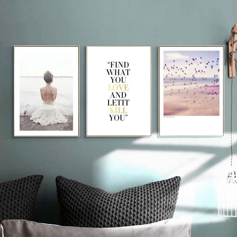 Girl Wall Art Watercolor Canvas Painting Sea Nordic Posters Text Wall Pictures For Living Room Decoracion Unframed in Painting Calligraphy from Home Garden