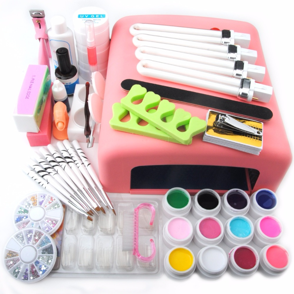 UV Gel Set For Manicure with 36W UV Lamp Cure All Gels for Solid UV Nail Gel Polish Manicure Set Tips Extension Set UV Gel Kit longevita uv cure eco