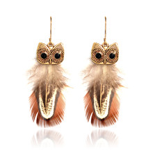 Mini orecchini pendenti verde marrone metallo animale gufo piuma strass pendenti orecchini etnici bohémien per gioielli da donna ragazza