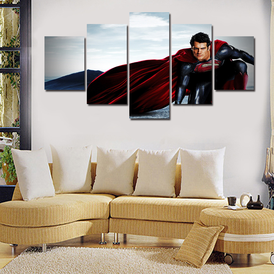 5 Panels HD Canvas Pictures Home Decoration Superman Wall Painting ...