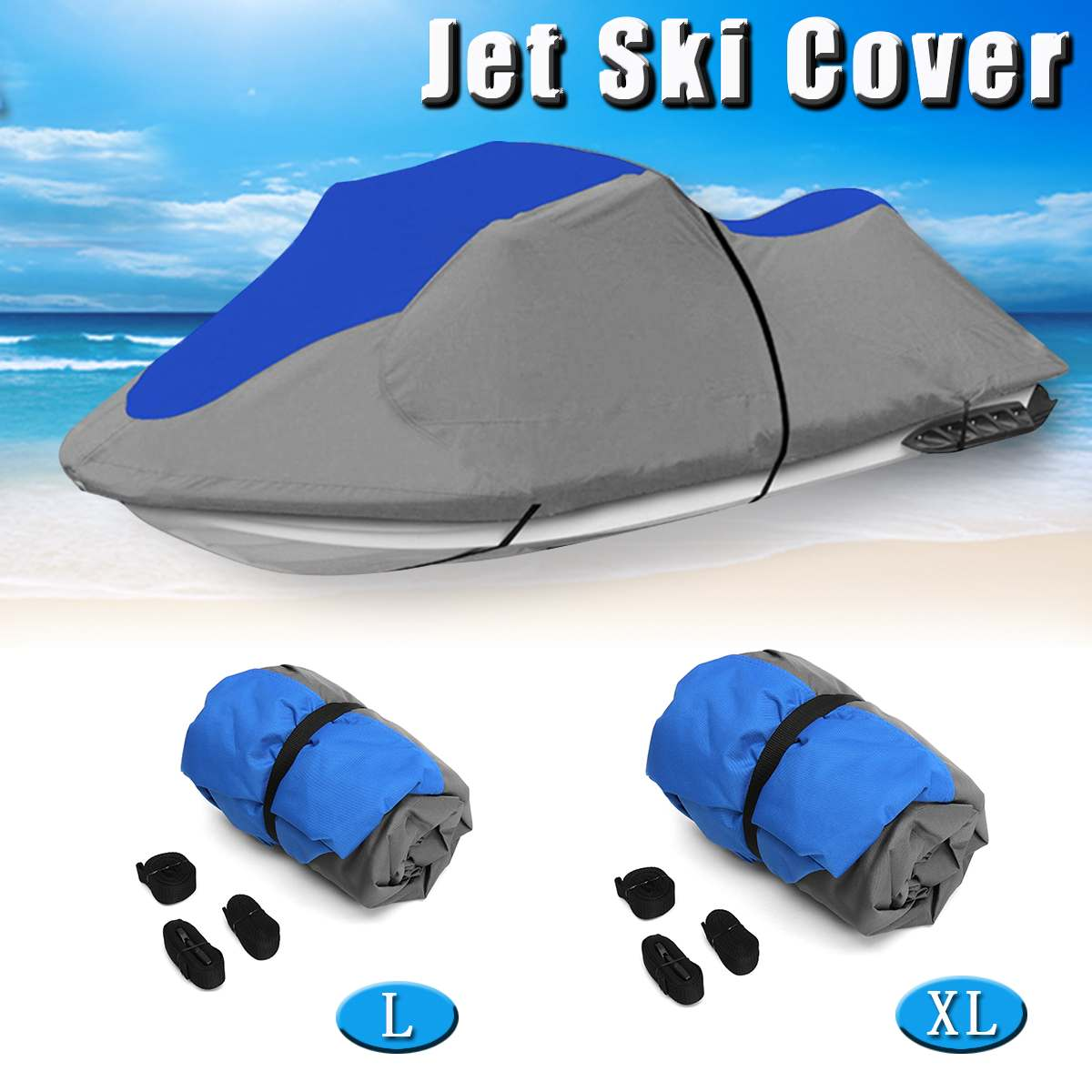 L/XL 600D Solution Dyed 8.1oz Oxford Boat Cover For Universal 3 Person PWC Jet Ski,116 To 135