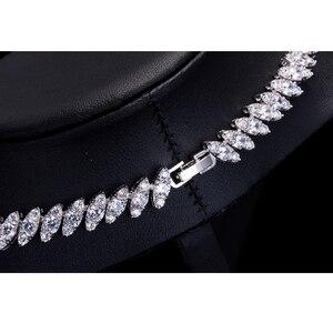 Image 5 - Высокое качество кубического циркония свадебное ожерелье и серьги Роскошный Кристалл Свадебные Ювелирные наборы для подружек невесты