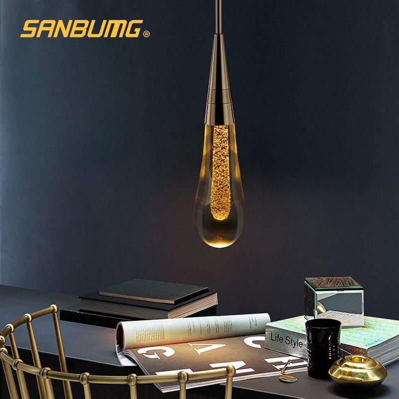 SANBUMG Hot Designer LED Water Drop pendant light minimalist Scandinavian loft Crystal Hanging Lamp Creative Restaurant Light