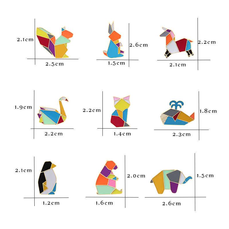 Мода Оригами журавль кролик Пингвин слон кошка Гусь КИТ Броши с лошадью красочные сплайсинга животных эмаль булавки значки ювелирные изделия