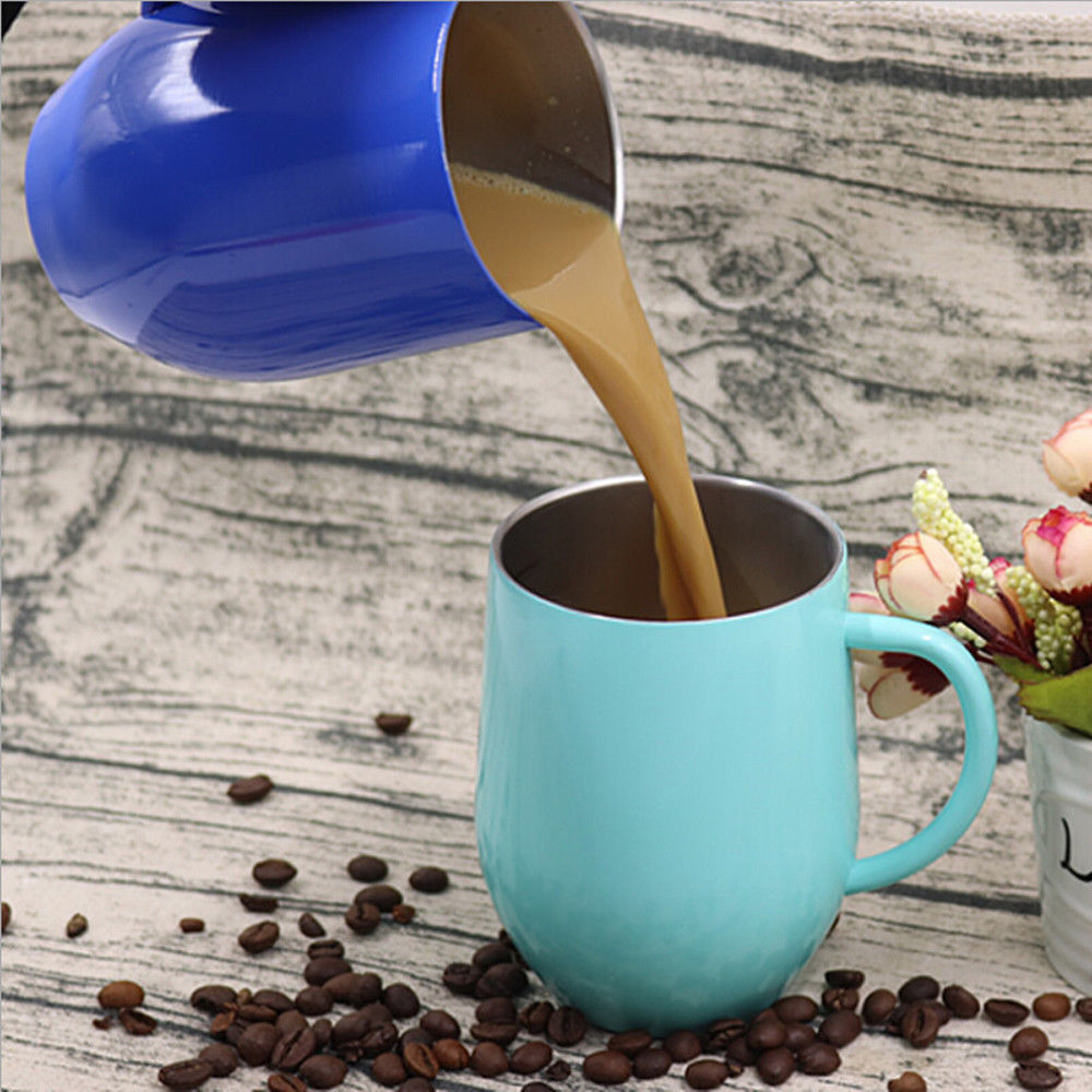 Coffee Mugs Cup Double Wall Stainless Steel Egg Shapped Cup Travel Beer Tumbler Insulated thermos Cups Drinkware