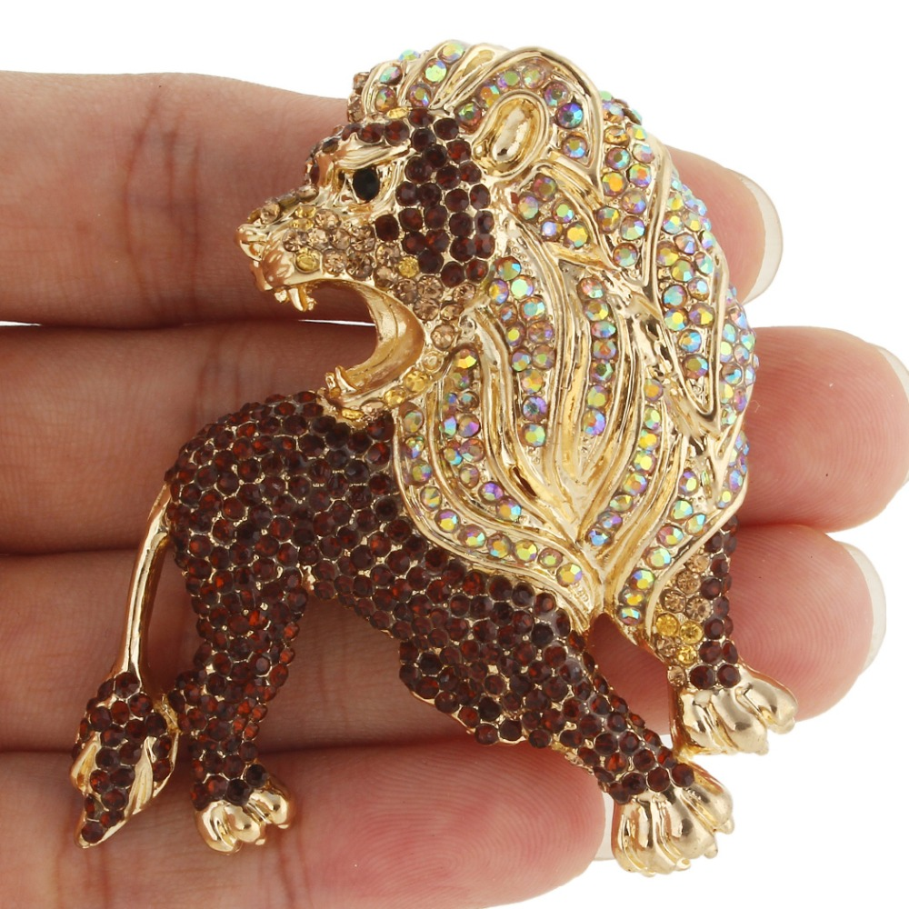Bella Fashion Powerful Lion Wildlife Animal Brooch Pins Austrian Crystal Rhinestone Brooches For Women Party Jewelry Gift elegant faux gem rhinestone flower leaf brooch for women