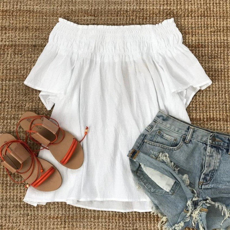 GUMPRUN 2018 Women Summer Flare Sleeve Boho Short Dress Sexy Off The Shoulder Loose White Mini Dresses Casual Beach Vestidos 8