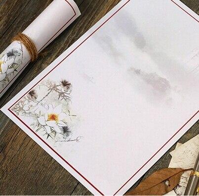 Hot selling 250*170mm.retro White Ink lotus retro Kraft paper Art letter paper.greeting letter paper.bargains