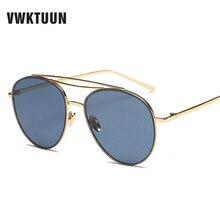 VWKTUUN Ocean Sunglasses Women Men Tinted Lens Metal Frame Sunglasses Female Oversized Sunglass UV400 Protection Eyeglasses