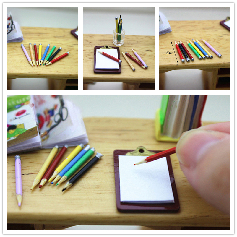 New 8Pcs/set 1/12 Dollhouse Mini Colorful Pencil Model Fashion Miniature Accessories Simulation Model Toys For Doll Kids Gift
