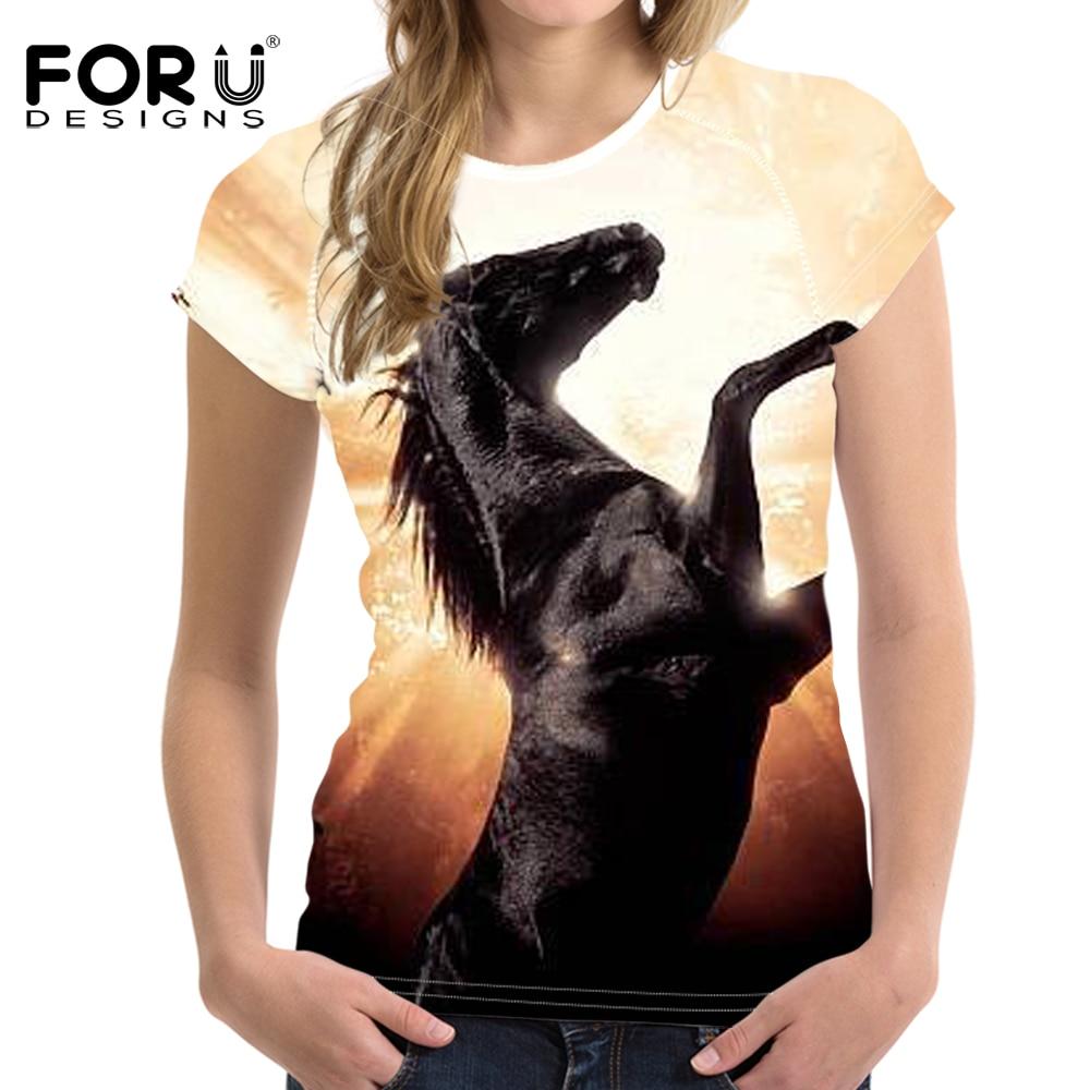 FOURDEIGNS Jumping Horse Print Women T-shirt Top Shirt Casual Funny Short Sleeve Streetwear Tee Tops Camiseta Clothes Tshirt