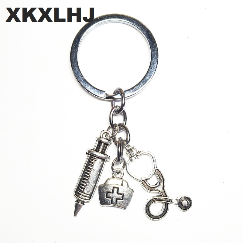 XKXLHJ 2018 New Nurse Medical Box Medical Key Chain Needle Syringe Stethoscope Cute Keychain Jewelry Gift