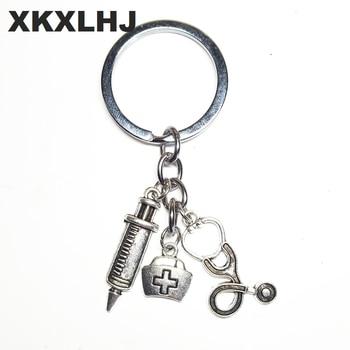 XKXLHJ 2018 New Nurse Medical Box Medical Key Chain Needle Syringe Stethoscope Cute Keychain Jewelry Gift