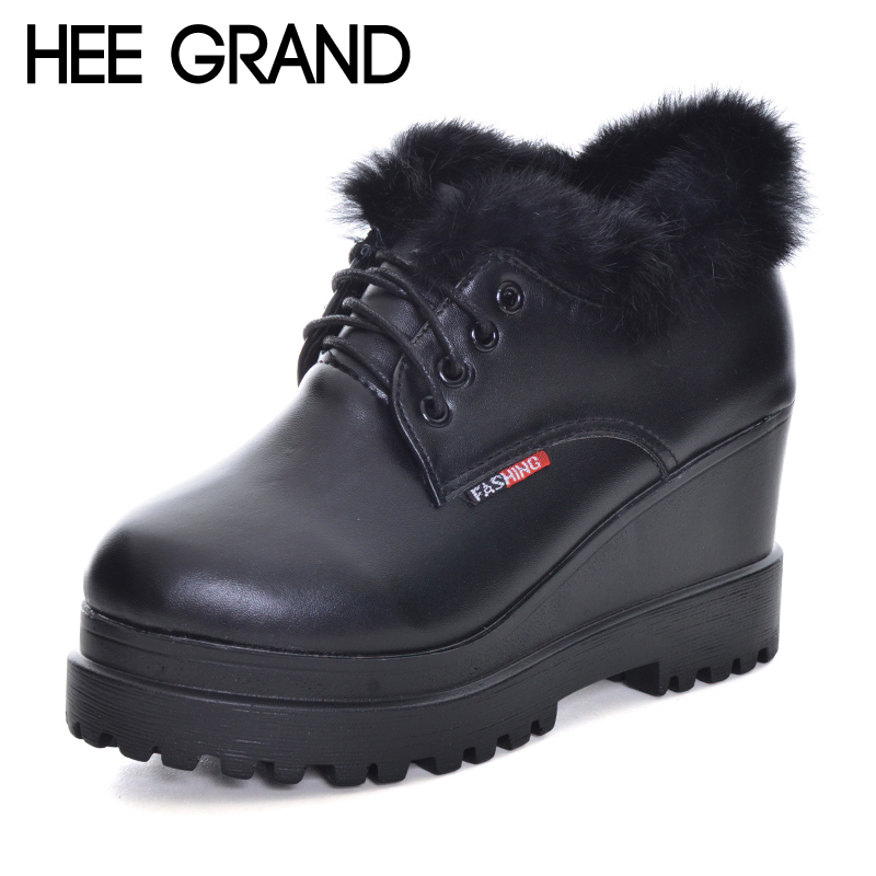 HEE GRAND Fur Ankle Boots Camouflage Creepers 2017 Lace up Platform Shoes Woman Wedges Flats Slip On Casual Woman Shoes XWX6228 hee grand bling winter snow boots waterproof silver shoes woman platform women ankle boots slip on flats casual creepers xwx5503