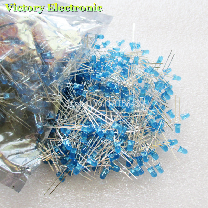 200pcs/lot 3mm Led Diode Round Blue Color Light Lamp F3 Dip Highlight Electronic Components & Supplies