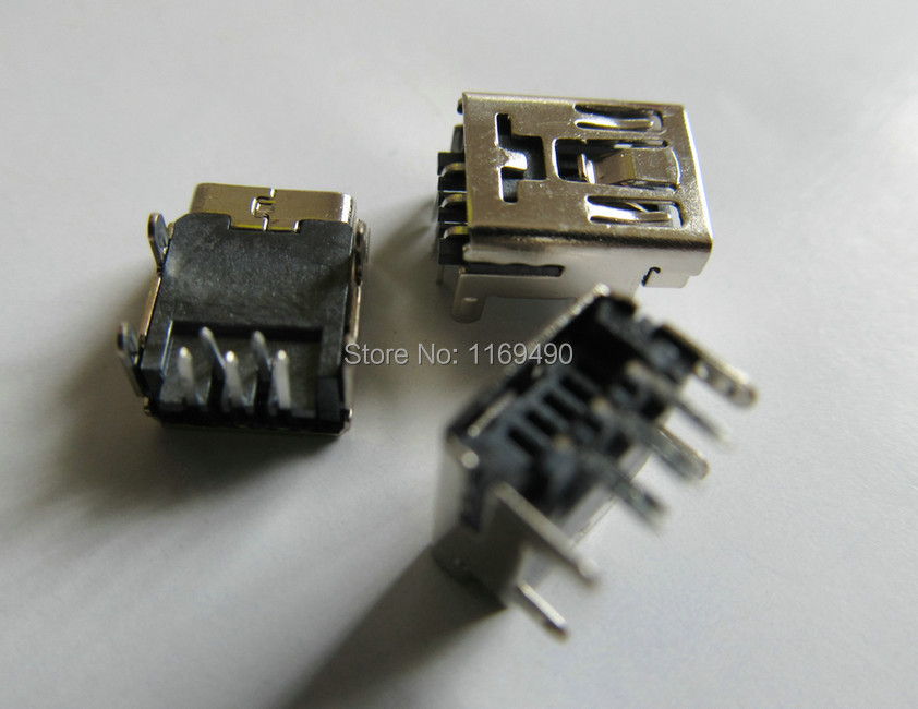30pcs DIY MIni USB B 5 pin female jack 90 degree plane connector socket interface Welding plug For Phone mp3 mp4 Tablet ect.