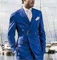 MS1 2017 Chegada Nova Slim Fit Azul Noivo Smoking Homem Terno Ternos Padrinho de casamento Formal do baile de Finalistas Dos Homens Double Breasted Jacket + calças