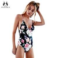 PLAVKY 2017 Sexy Black Floral Swim Wear Monokini Padded Bathing Suit Plus Size Swimwear Beachwear Women