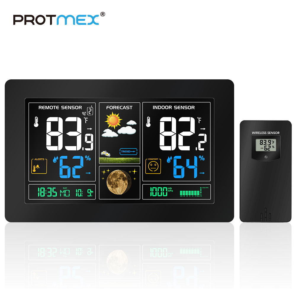 PROTMEX US RCC Wireless Weather Station Temperature Humidity Sensor Colorful LCD Weather Forecast Snooze alarm clock in/outdoor protmex wireless rcc weather station temperature humidity sensor colorful lcd display forecast clock in outdoor