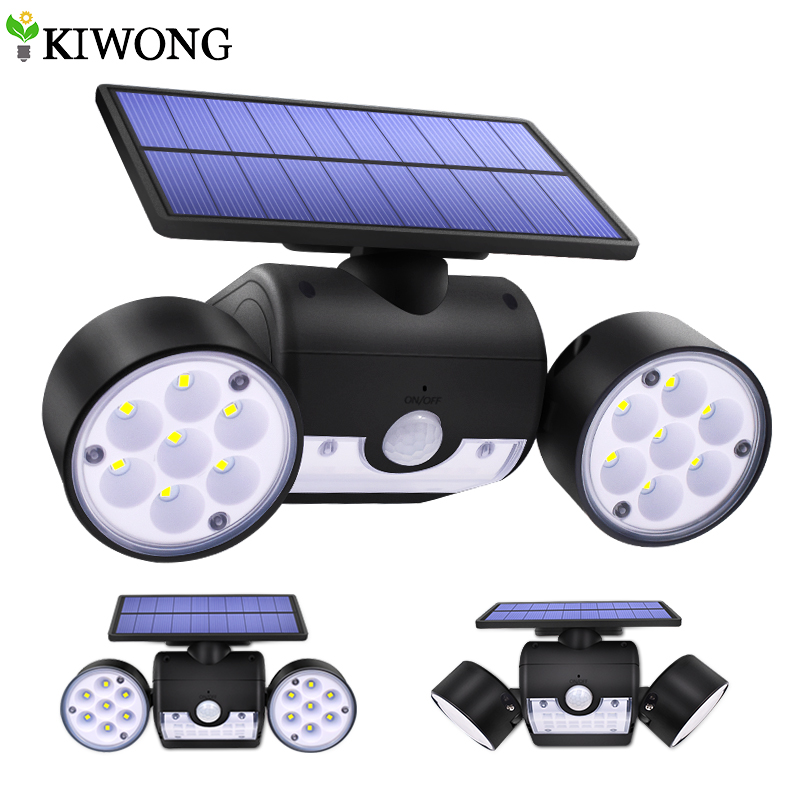 30LED Solar Light Dual Head Solar Lamp PIR Motion Sensor Spotlight Waterproof Outdoor Adjustable Angle Lights For Garden Wall|Solar Lamps|   - AliExpress