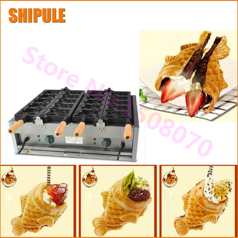 SHIPULE 2018 Electric Ice cream Taiyaki Machine Commercial Industrial Open Mouth Fish Waffle Taiyaki Maker For Sale taiyaki maker with ice cream filling taiyaki machine for sale ice cream filling to fish shaped cake fish cake maker