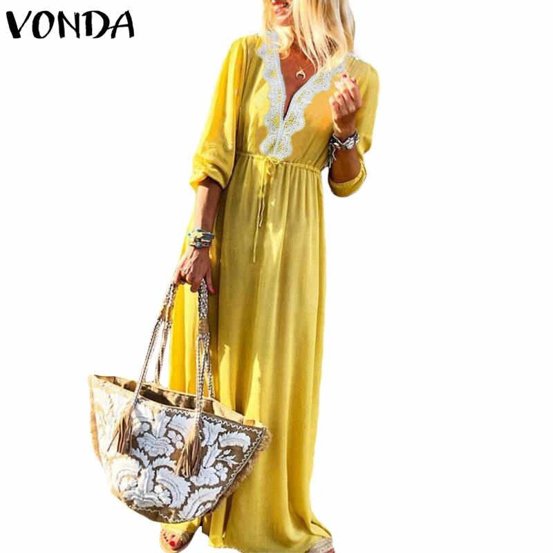 Богемный для женщин макси длинное платье 2019 VONDA осень кружево вязаные платья Sexy V образным вырезом с длинным рукавом повседневное свободные