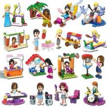 Фотография 6PCs/Lot Girls Friends Building Blocks Elsa Pop Star Princess Emma Figure Bricks Doll Set Toy Compatible With LegoINGlys Friends