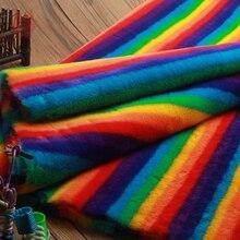 Роскошный пушистый Радужный цвет Искусственный мех кролика ткань 1,2 см длинный мех tissu tecidos стеффоны для зимнего пальто DIY аксессуары SP4579
