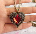 Free shipping new long design vintage  red charms heart pendant necklace chain royal carved personality beautiful women love