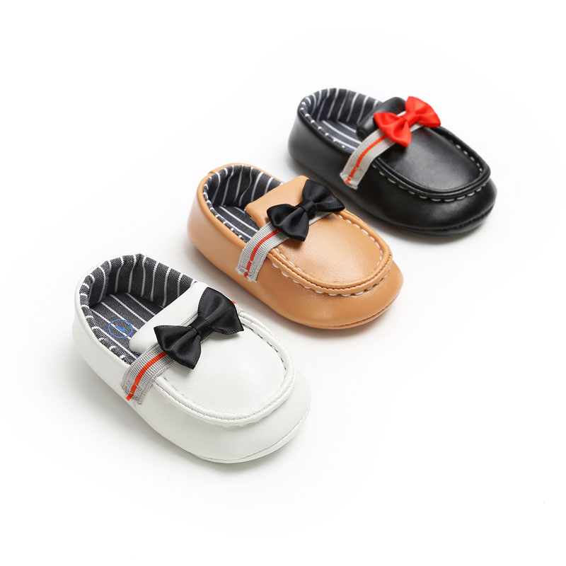Baby Boys Moccasins Newborn Toddler Casual Shoes Bow Bean Gentleman Baby Boy Shoes Solid Non-slip Soft Bottom First Walkers