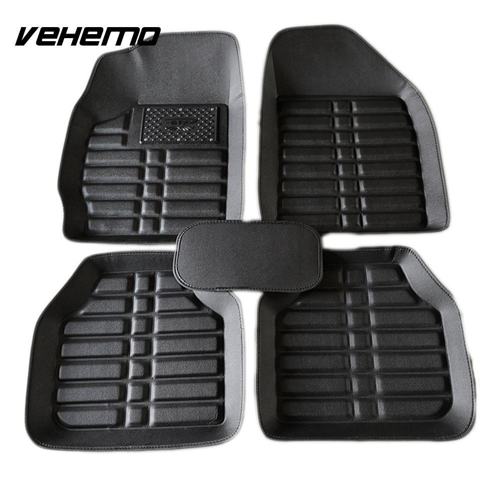VEHEMO 5 шт. автомобильные коврики, коврик для ног, автомобильные коврики для автомобиля, коврики с левым приводом, таппетини, авто Универсальный авто интерьер - Название цвета: black