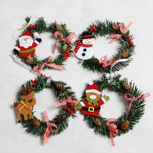 2PCS Christmas Ornaments Wreaths Ring Santa Clause Pinecone Pink Bow Knots Window Door Hanging Garland Christmas Home Decor