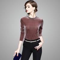 New Arrival Woman Autumn Blouses and Shirts 2017 Fashion Designer Beading O Neck Long Sleeve Plus Size Basic Velvet Blouse Tops