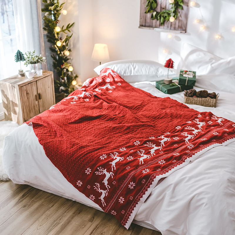 New Year Large Warm Christmas Deer Throw Knit Blanket Coverlet Reversible Fuzzy Plaid for Bed Couch Sofa Cover Bedspreads