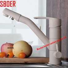 Одной ручкой очиститель воды кран кухня поворотный кран раковины питьевой латунным смесителем мраморный живопись кран cocina