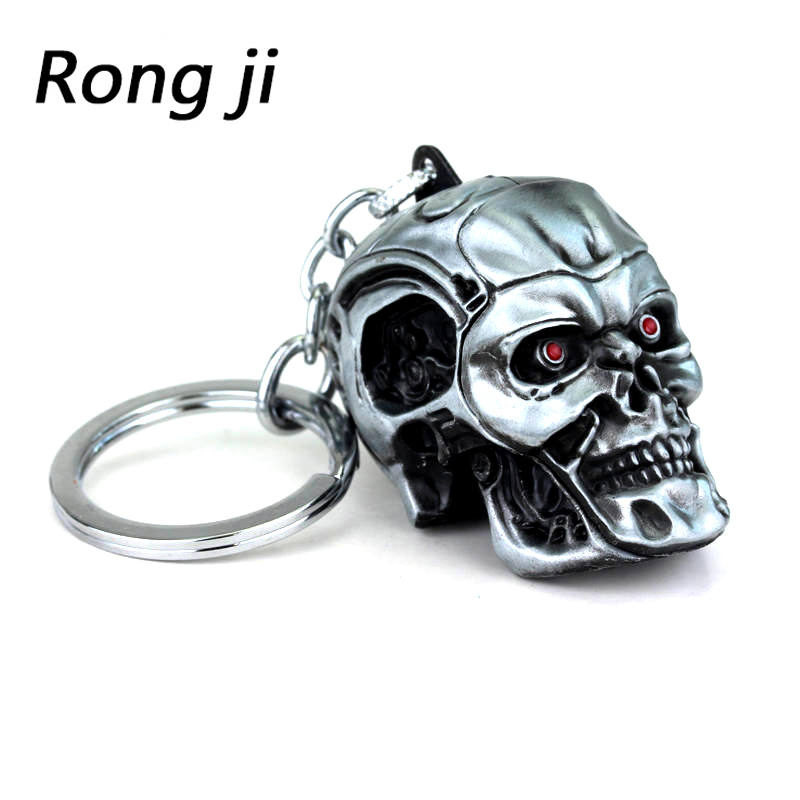 Weight 65g Terminator Skull Head Logo Charm Keychain Men And Women Fashion Pendant Keyring Jewelry Car Key Accessories