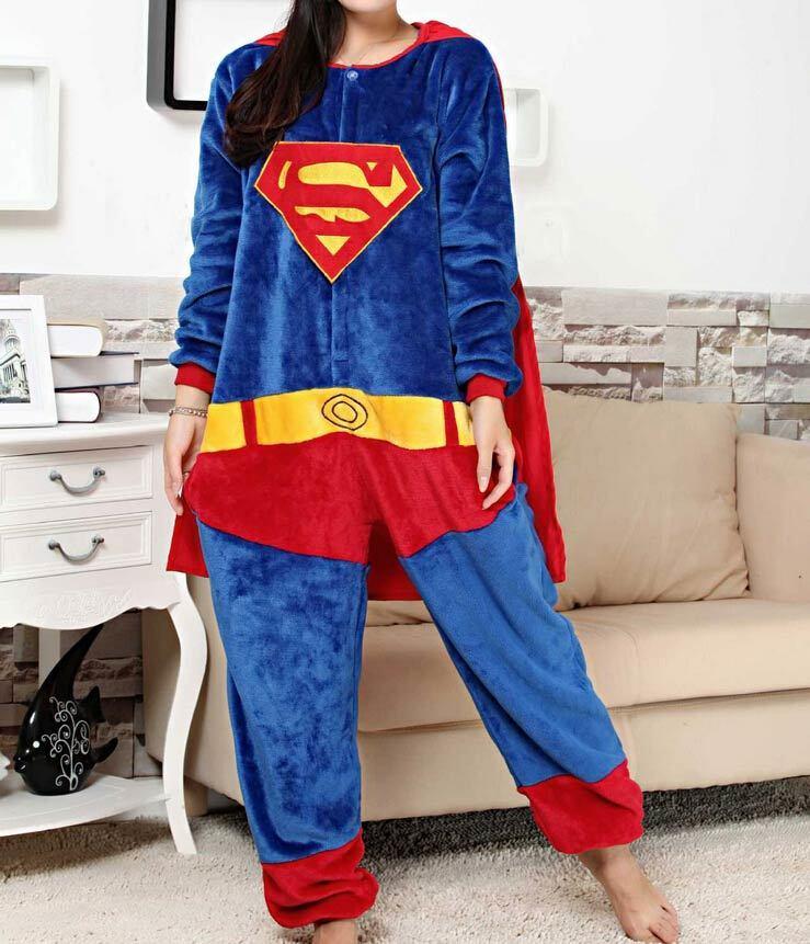 Halloween Kigurumi Supermam Superhero Batman Onesie Jumpsuit Halloween Natal Wanita Pria Cosplay Kostum Dewasa Piyama Piyama
