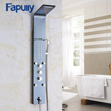 Fapully Stainless Steel Rain Waterfall Shower Panel Wall Mounted Thermostatic Faucet with Jets Handshower Shower Set Column new waterfall fashion luxury gold shower column shower panel hand shower massage jets stainless steel plate shower faucet