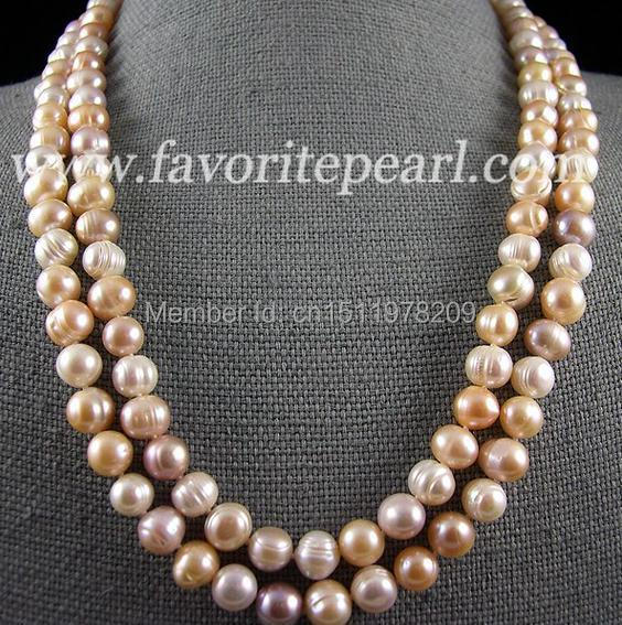 Pearl Necklace 45 Inch 9-10mm Multicolor Natural Freshwater Pearl Long Necklace Fashion Lady's Jewelry Free Shipping