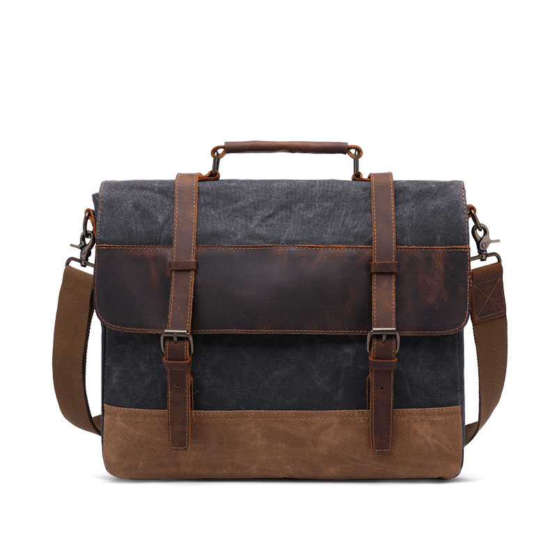 """16/"""" Large brown Leather bag for men messenger bag shoulder bag mens Laptop Bag,"""